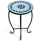 Giantex Mosaic Round Side Accent Table Patio Plant Stand Porch Beach Theme Balcony Back Deck Pool Decor Metal Cobalt Glass Top Indoor Outdoor Coffee End Table (Ocean Fantasy) For Sale