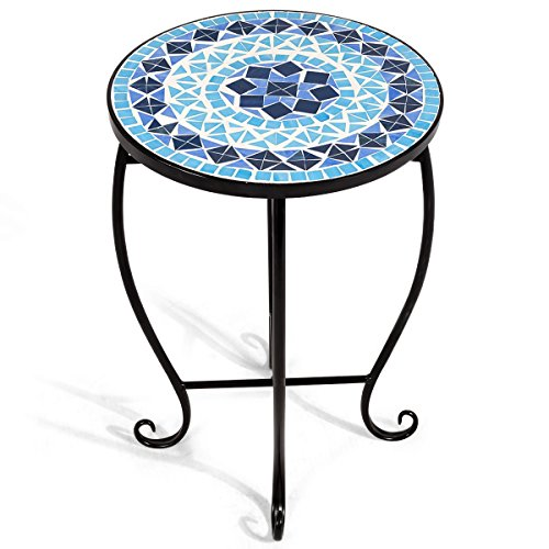 Giantex Mosaic Round Side Accent Table Patio Plant Stand Porch Beach Theme Balcony Back Deck Pool Decor Metal Cobalt Glass Top Indoor Outdoor Coffee End Table (Ocean (Fantasy Coffee)