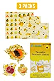 Reusable Beeswax Food Wraps, 3pcs by Blue Power Eco Enterprise - Eco-Friendly Food Wrap - Sustainable and Zero Waste Food Wrap - 1 Small, 1 Medium, 1 Large