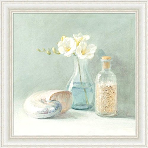 (FRAMED Freesia Spa by Danhui Nai 10x10 Art Print Poster Shell Coastal Flowers Bath Bathroom)