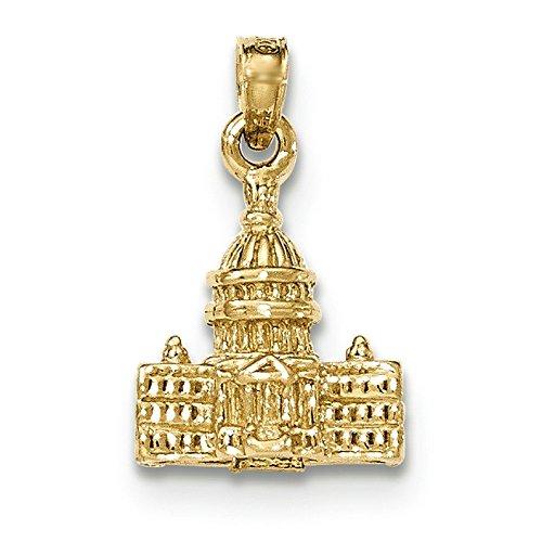 14 carats 3-D à Washington D.c., le Capital de Construction-JewelryWeb Pendentif