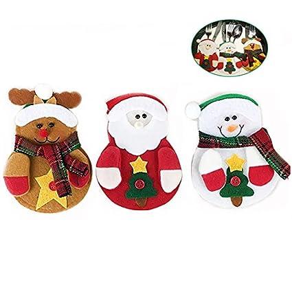 Cena Decoración de la mesa, Navidad para cubertería cubiertos cuchillo cuchara tenedor bolsas pack de