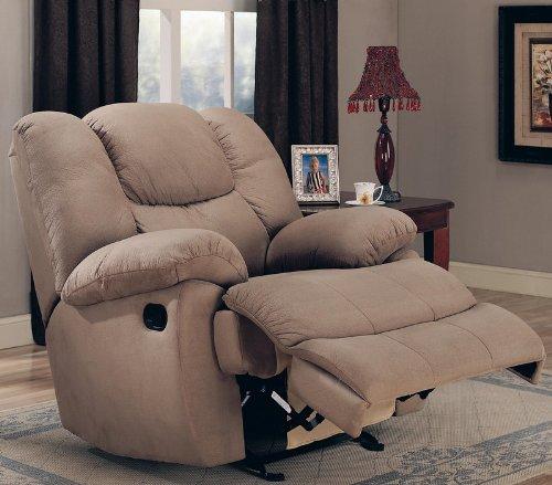 Rocker Recliner Sofa Chair in Mocha Padded Microfiber