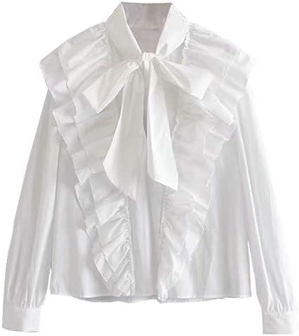 NIRANGWOZ Camisa Blanca con Volantes para Mujer, Manga Larga ...