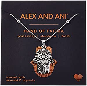 Alex and Ani Hand of Fatima III Necklace, Rafaelian Silver, Expandable