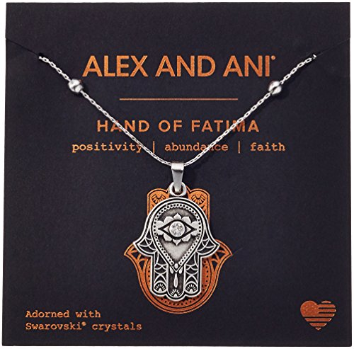Hamsa Charm Necklace - Alex and Ani Hand of Fatima III Necklace, Rafaelian Silver, Expandable