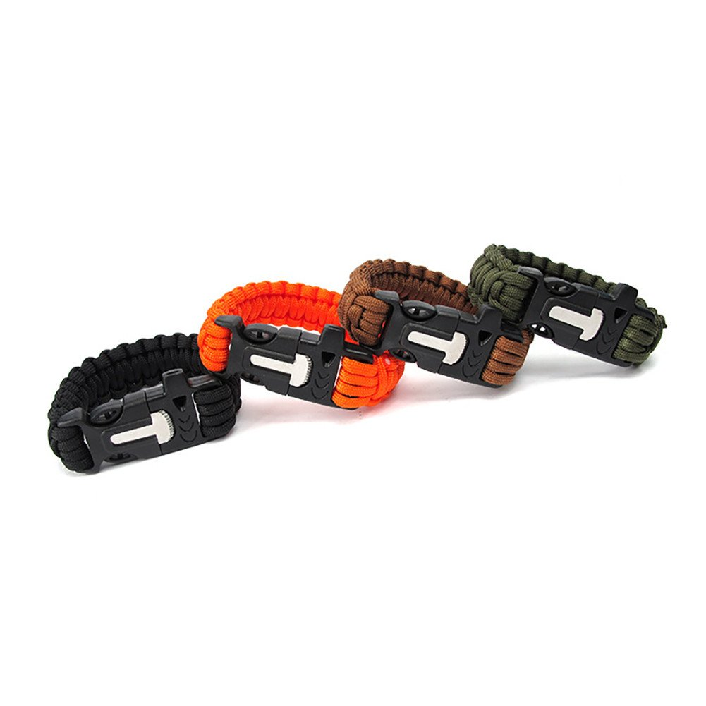 GOGO wholesale Paracord Bracelet 4 in 1 Survival Whistle Kit with Emergency Knife and Fire Starter