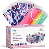 WeCare Disposable Face Masks For Kids, 50 Watercolor Print Face Masks, Individually Wrapped