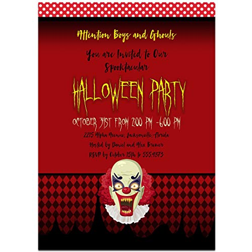 Scary Clown Halloween Party - Party Invitations Halloween Scary
