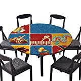 "Picnic Circle Table Cloths Retro Collage of Different Music Instruments Guitar Violin Jazz Pop for Family Dinners or Gatherings 47.5""-50"" Round (Elastic Edge)"