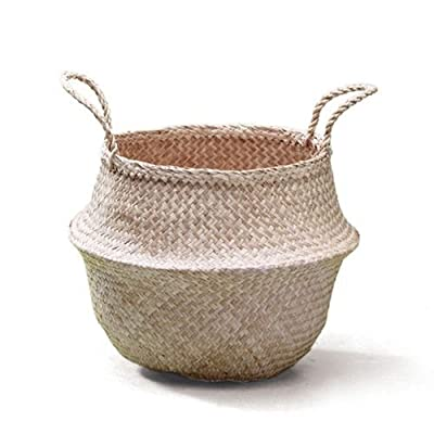 Sosibon Large Seagrass Belly Basket with Handles for Storage (Black) -  - living-room-decor, living-room, baskets-storage - 51UpYw44WLL. SS400  -