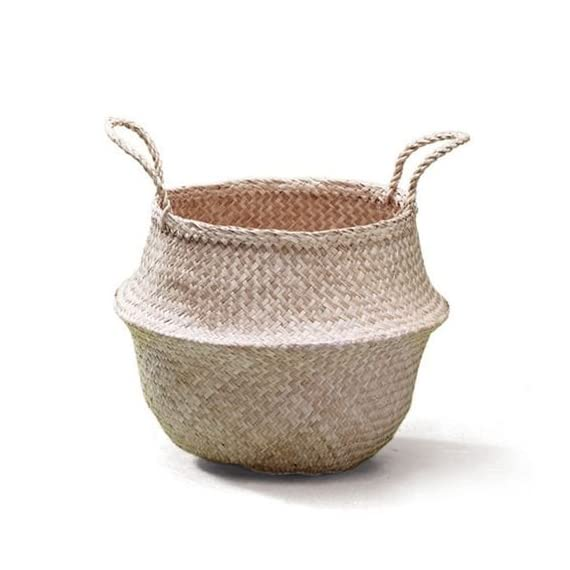 SOSIBON Large Seagrass Belly Basket With Handles For Storage -  - living-room-decor, living-room, baskets-storage - 51UpYw44WLL. SS570  -