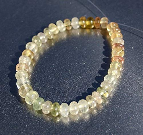 - JP_BEADS Green Pastel Gem Umba Sapphire Large 4.7-5.5mm Smooth Rondelle Beads 39 Beads Demi Strand
