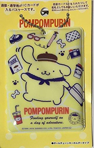 Sanrio Pom Pom Purim Name IC Card Pass Case Holder Ball chain Key ring