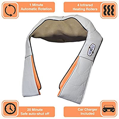 Full Body Massage, Deep Shiatsu Kneading Shoulder Massagers With Heat | Electric Neck & Back Massager | Chair, Car, Office