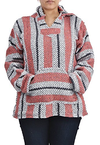 Baja Joe Striped Woven Eco-Friendly Hoodie (Pastel Sherbert, XX-Large)