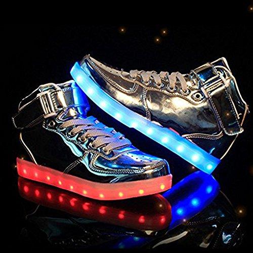 Luckfugui Hommes Femmes Adulte Métal Haut Haut Usb Led Lumière Chaussures Sneakers Clignotant, Hiphop Chaussures, Chaussures De Danse De Rue Argent