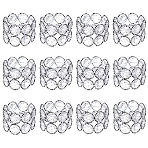 OwnMy Set of 6 Crystal Beads Napkin Rings Handcraft Sparkly Elegant Napkin Holders for Wedding Party Dinner Table Decor (Silver Tone - 12 PCS)
