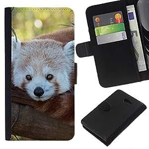 - FACE TREE LITTLE TAIL BEAR PANDA RED - - Prima caja de la PU billetera de cuero con ranuras para tarjetas, efectivo desmontable correa para l Funny House FOR Sony Xperia M2