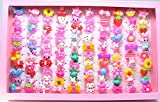 Zhahender Little Girls Accessory Jewellery Toy Approx.100 Pcs/Set New Children's Boutique Rectangle Gift Box Ring (Solid Color Ring)