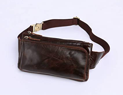 Chocolate Color Creative Fashion Fashion Multi-Function Leather Mens Bag Top Layer Leather Cross Bag Shoulder Diagonal Casual Oil Wax Leather Mens Pocket for Men