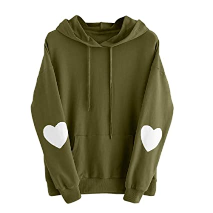 12129cb1e0b Image Unavailable. Image not available for. Color  Women Hoodie Sweatshirt  Daoroka Long Sleeve Plus Size Heart Pocket Jumper Blouse Autumn Winter Tops