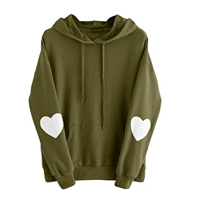 25d449a448a Amazon.com  Clearance!Women Teen Girls Long Sleeve Heart Hoodie Sweatshirt  Cuekondy Cute Casual Pocket Hooded Jumper Pullover Blouse  Clothing