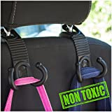 ALLTOOLS Car SUV Hooks Back Seat Headrest Hanger Holder Hang Purse Grocery Bag Handbag Cloth Coat Universal Vehicle Storage Organizer Drop Stop Gadget Car Accessories for Women Men