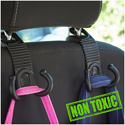 Car Back Seat Headrest Hanger Holder Hooks for Purse Grocery Bag Cloth Coat - Universal Vehicle Trunk Storage Organizer - Heavy Duty Purse Hooks - Drop Stop Gadget - Best Car Accessories for Women