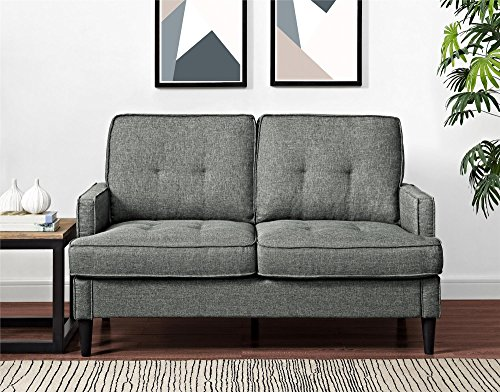 Dorel Living Marley Loveseat, Gray - Contemporary design Casual track Arm and tufting Easy-to-clean linen-look fabric - sofas-couches, living-room-furniture, living-room - 51Upau077oL -