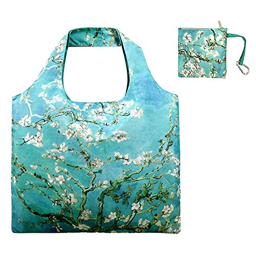 (Reusable Grocery Bags with Zipper Closure and Zipper Pouch Washable Foldable Tote Shopping Bags for Women Girls Outdoor Nylon Waterproof Large Shopping Cloth Bag Apricot Tree)