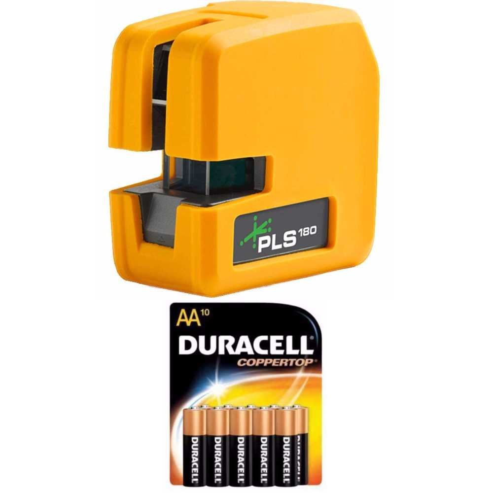 Pacific Laser Systems PLS 180 Green Tool with 10 Pack Duracell AA Batteries