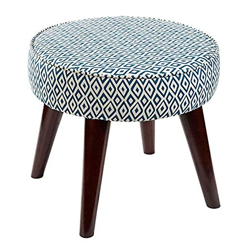 G DWLXSH Footstool- Round Pouf Foot Rest with Removable Tartan Print Linen Fabric Cover,Stool Cloth Sofa Stool Solid Wood Footstool Small Stools (color   E)