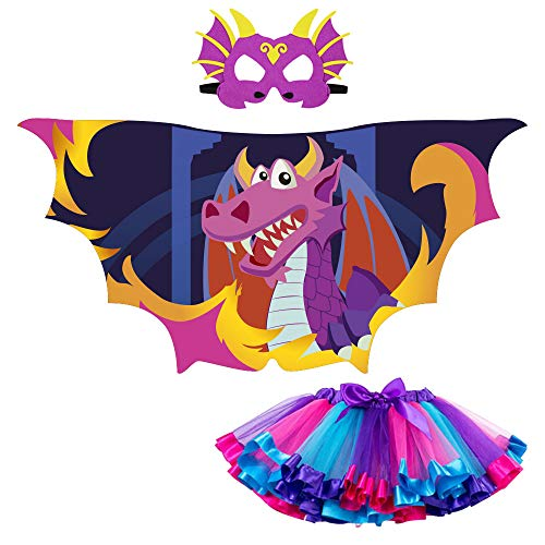 Dragon-Wings Costume and Mask for Kids Girl with