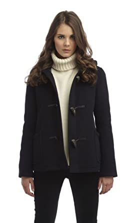 Womens Short Duffle Coat -- Navy: Amazon.co.uk: Clothing
