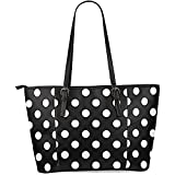 InterestPrint Black and White Polka Dot Women's Leather Tote Shoulder Bags Handbags