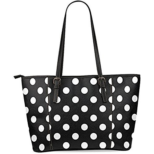 InterestPrint Black and White Polka Dot Women's Leather Tote Shoulder Bags (Polka Dot Purse Handbag)