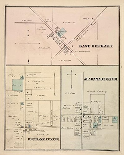 Historic 1876 Map | East Bethany [Village]; Bethany Center [Village]; Alabama Center | Antique Vintage Map Reproduction