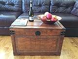 Newport Large Wood Storage Trunk Wooden Treasure Chest - Brown