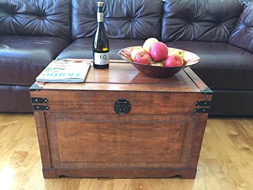 Newport Wood Storage Trunk Wooden Treasure Chest Set of 2 - Brown - Victorian Hope Chest