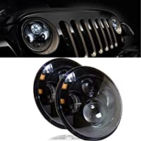 Ecosin Fashion LED 7 Inch Round Projector Headlights Black Housing Low/High H6024 H6012 (Pair)