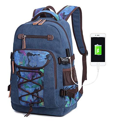 291dc406c Hombro De Retro Gudelaa Lona Ordenador Del Color Mochila Azul Casual Viaje  Bolsa Lavada Portátil Impresa Caqui 1BwYwq5R