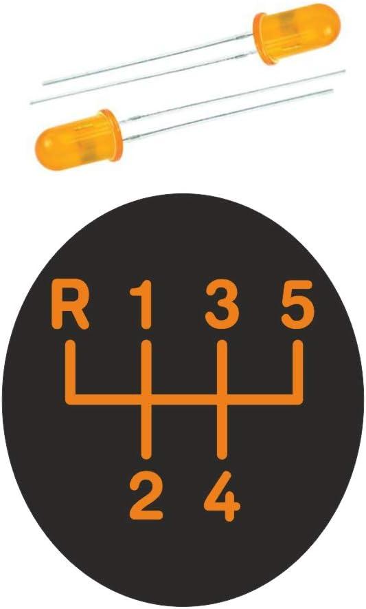 LED orange 5 gang mit Rahmen Komplettset Ersatzteil Made in Germany Original ICT Schaltknauf Schalthebel Schaltsack//Schaltmanschette Leder schwarz Naht schwarz