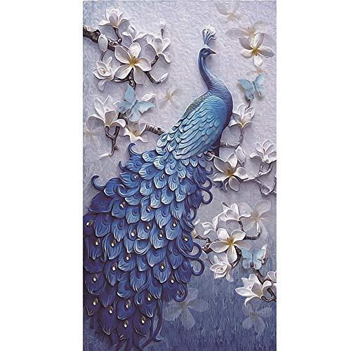 - 5D Diamond Painting Rhinestone Exquisite Lifelike Sculpture Flower Blue Peacock Embroidery Wallpaper DIY Crystal Cross Stitch Arts Wallpaper Handmade Artwork Tools Kits 30X48cm