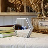 CLG-FLY Electronic mirrored bedside luminous alarm mute the alarm,Silver