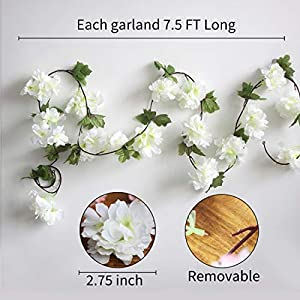 Only Angel Artificial Rose Flower Wholesale Flowers Vine Garland Hanging Christmas Decor Flowers Wedding Home Garden Outdoor Decoration-2 Pack Cream 2