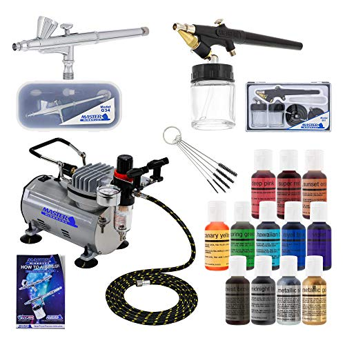 Master Airbrush 2 Airbrush Cake Decorating Airbrushing System Kit with Set of 12 Chefmaster Food Colors, Gravity & Siphon Feed Airbrushes, Air Compressor - Decorate Cakes, Cupcakes, Cookies, Desserts (Cake Boss Dvd Box Set)