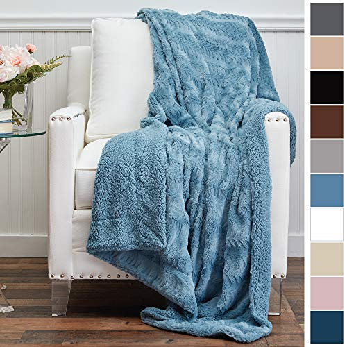 - The Connecticut Home Company Luxury Faux Fur with Sherpa Reversible Throw Blanket, Super Soft, Large Wrinkle Resistant Blankets, Warm Hypoallergenic Washable Couch/Bed Throws, 65x50 (Slate Blue)