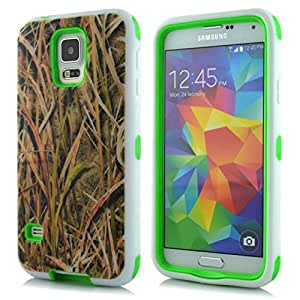 KeyDeal Brown Straw Galaxy s5 Hybrid Combo Silicone Cover Protective Case Defender Shockproof Function for Samsung Galaxy S5 I9600 Green