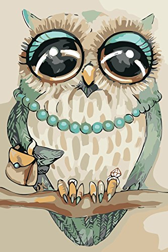 Version 3.0 HD DIY Oil Painting by Numbers Kit Theme PBN Kit for Adults Girls Kids White Christmas Decor Decorations Gifts - owl (20W041, Without Frame)]()